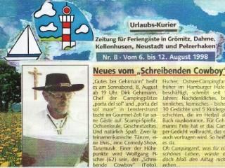 """Urlaubs-Kurier Grömitz [August 1998] – Neues vom """"schreibenden Cowboy"""""""