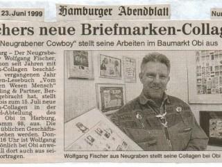 Hamburger Abendblatt [Juni 1999] – Fischers neue Briefmarken-Collagen