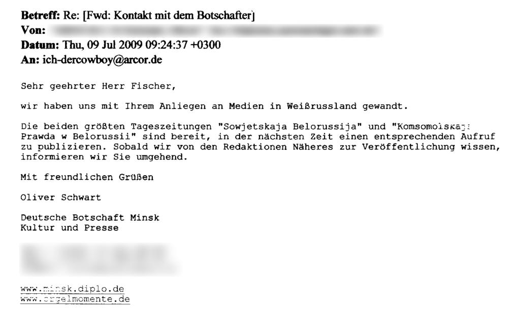 E-Mail - Kontakt mit der Botschaft (09.07.2009)
