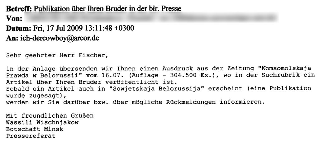 E-Maill - Publikation über meinen Bruder in der blr. Presse (17.07.2009)